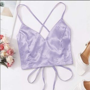 Romwe Silky Lace Up Crop Top